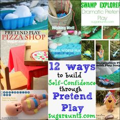 Boost Self-Confidence through pretend play. Imagination play helps with fine motor skills, language development, direction following, story telling...and so much more. | Sugar Aunts