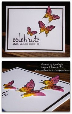 Stamp and Sew For Fun: Shadowed Butterflies using Papillion Potpourri Scrapbooking, Scrapbook Cards, Making Greeting Cards, Greeting Cards Handmade, Card Making Inspiration, Making Ideas, Congratulations Card, Butterfly Cards, Card Tutorials