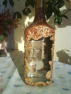 Μπουκάλι ντεκουπάζ. Decoupage bottle.