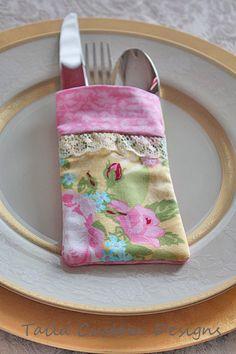 Shabby Chic Silverware Utensil Holder Fabric by TailaCustomDesigns, $6.00
