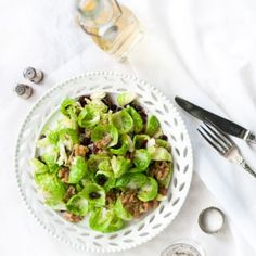 Festive Brussel Sprout Salad with Cranberries & Walnuts | Crush Magazine Recipe