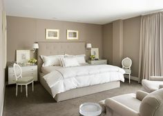 Peaceful And Serene In Soft Taupe And White   Bedroom Wall Color