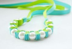 Beads and ribbon bracelet
