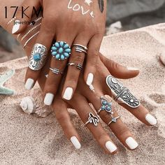 17KM 9Pcs/ turquoise Bohemian Ring Set Vintage Steampunk Cross flowers – nantahalas