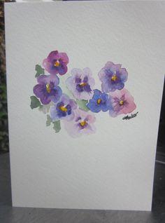 Purple Pansies Watercolor Card via Etsy