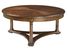 Shop+for+Hekman+European+Legacy+Round+Coffee+Table,+1-1101,+and+other+Living+Room+Tables+at+Priba+Furniture+And+Interiors+in+Greensboro,+NC.+Rustic+American+Cherry+solids+and+veneers.+Macadamia+finish+(MC).+Sunburst+veneer+top+with+solid+hardwood+banded+edge.+Lightly+distressed.