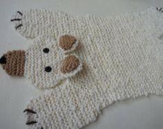 Hand stricken 33 cm elfenbeinfarbenen Eisbär Teppich/Matte/Decke