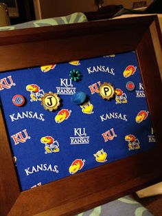 Homemade magnetic board #KU #Jayhawks (graduation/birthday/teacher gift/present)