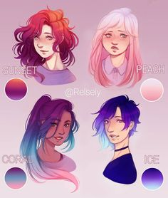 Which is your fav gradient hair?~ Sunset - Peach - Coral - Ice Featuring some of my ocs, Adilene, Lydia, Kylie, Zoe and this is not their actual hair, felt like making more gradients after the recent sunset one with adilene on a previous post. #relsfavhair #digitalart