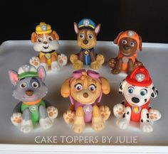 Custom Cakes by Julie: Paw Patrol Inspired Toppers. Maybe I can try this for my nephews birthday he loves Paw Patrol Paw Patrol Birthday Cake, Paw Patrol Party, Birthday Cake Toppers, Torta Paw Patrol, Paw Patrol Cake Toppers, 4th Birthday Parties, 2nd Birthday, Birthday Ideas, Cake Disney