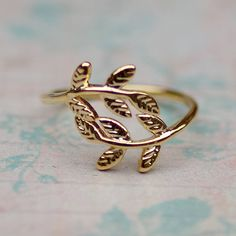 Gold Leaves Ring by Tilley and Grace buy online UK