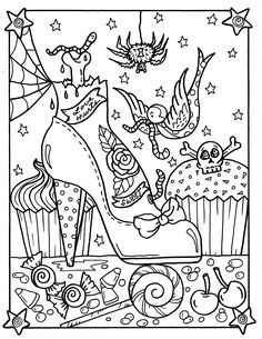 Halloween Sweets and Pinups Digital Download Coloring Book | Etsy Free Halloween Coloring Pages, Pumpkin Coloring Pages, Printable Adult Coloring Pages, Cute Coloring Pages, Disney Coloring Pages, Mandala Coloring Pages, Coloring Pages To Print, Coloring Sheets, Witch Coloring Pages