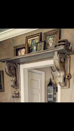 Creepy decor, but great idea for hanging shelves in an unusual & usually boring place & definitely creates style, interest & makes great use of space