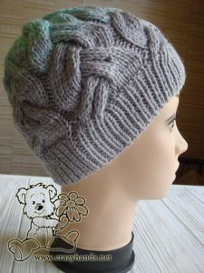 db7fe0cb276 finished cable knit hat for adults - side view Cable Knit Hat