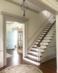 Feature Friday: Our Victorian Italianate - Southern Hospitality Interesting idea- paint your trim grey! Victorian House Interiors, Victorian Homes, Victorian Stairs, Victorian Farmhouse, Georgian Homes, Home Renovation, Home Remodeling, House Trim, Style Deco