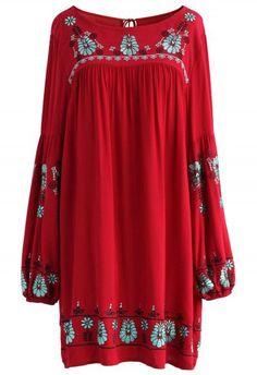 Festive Flower Embroidered Dress