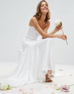 ASOS BRIDAL cami paneled fishtail maxi dress. Super sleek and classy with a dropped hem. £120 <3
