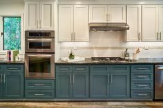 Maybe it's just this frontal shot/liner kitchen, but not liking the different cabinet colors in this one.