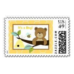Honey Bear and Bee Customizable Postage Stamps