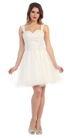 Short Formal Homecoming Sequins Lace Top Prom Dress