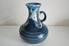 Blau westdeutschen Jasba Keramik Vase  markierte N von RetroFatLava