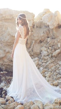 anna campbell 2015 bridal dresse cap sleeves scoop neckline beaded bodice stunning fit to flare mermaid wedding dress coco silk tulle back view