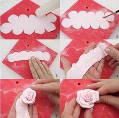 Anokay Rosenausstecher Fondant Zubehör DIY Modellierwerkzeug Ausstechformen für Rüschen Blumen Marzipan Blütenpaste Kuchen die einfachsten Rosen Ausstecher der Welt - the Easiest Rose Cutter Ever (S)
