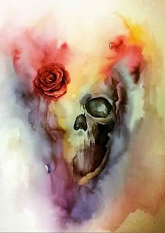 "By: Andrzej-Korytkowski ""Skull"" in watercolor use a bill skull instead"