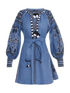 Demin blue Vyshyvanka Vita Kin style Embroidered Bohemian Linen Folk Embroidery mini Dress Boho Vita Kin Style. Sizes - XS-XXL 003