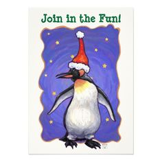 Festive Penguin Heads and Tails Christmas Invitation designed by Animal Parade is a fun way to invite your friends and family to your holiday party this year.