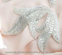 Beaded Applique Silver Leaf - Sashes Fascinators Head Pieces Apparel Wedding Bridal DIY Art Deco - Silver Large Leaf-H
