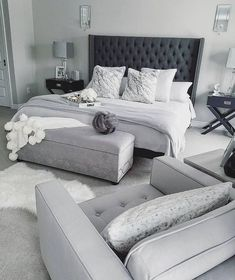gray and white bedroom ideas on a budgetcozy gray and white bedroom ideas; Bedroom ideas for small spaces; Bedroom decor on a budget; Bedroom decor ideas color schemes bedroomdecor homedecorlook decoration a color grey Gray Bedroom, Master Bedroom Design, Bedroom Ideas Grey, White Grey Bedrooms, Grey Bedroom Furniture, Adult Bedroom Ideas, Rustic Grey Bedroom, Black Master Bedroom, Grey Carpet Bedroom