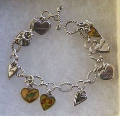 $7.00 Silvertone Heart Charm Bracelet (9915-1449MS) jewelry, fashion, collectibles #Unbranded #Fashion