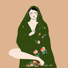 Weronika Anna Marianna #illustration #female #woman #drawing #art #girl #artist #artistsofinstagram #women #painting #nature #plants #flowers #pattern