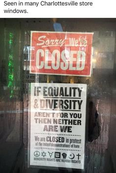 Charlottesville closed store sign