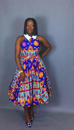 NEW IN :African clothing,African print vintage dress, handmade clothing, women's clothing, dresses, dashiki dresses, Ankara dress, Dutch wax.