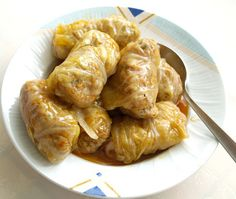 Lahanodolmades - greek traditional recipe for stuffed cabbage rolls with meat and rice. Very good!