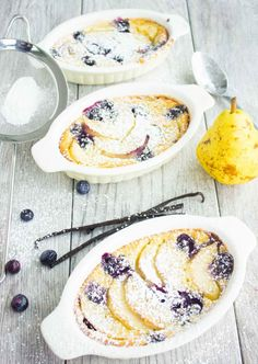 This pear blueberry vanilla clafoutis recipe is a silky sweet French dream. Fresh sliced pears with blueberries with then a vanilla bean silky custard.