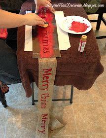 Custom wording on burlap ribbon. DIY Burlap Christmas Garland Tree Wrap