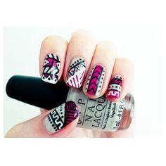 Pink, grey, and black tribal nails