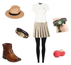 """White Polo"" by crazywriterfangirl90000 ❤ liked on Polyvore featuring Vince, Polo Ralph Lauren, Frye, rag & bone, Eos and WorkWear"