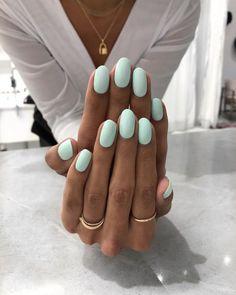 Light Colored Nails, Light Nails, Cute Nails, Pretty Nails, My Nails, Oval Nails, Fall Nail Colors, Nail Polish Colors, Green Nail Polish
