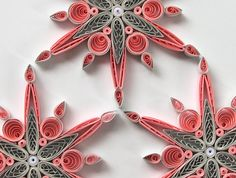 Snowflake Pink Grey Quilled Handmade Art Paper Quilling