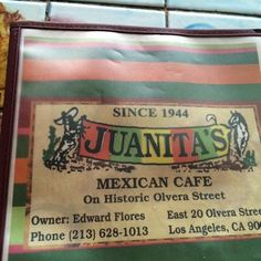 Juanita's Café - Los Angeles, CA, United States. Menu Cover