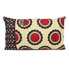 Zanzibari Kanga Cloth Pillow - Red Suns