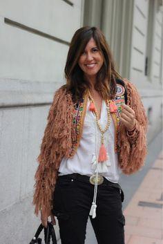 Crochet jacket with hippie boho appeal