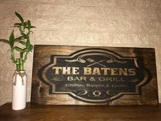 A personal favorite from my Etsy shop https://www.etsy.com/listing/496983538/bar-and-grill-personalized-custom-wood