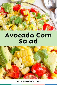 This avocado corn salad is an easy and healthy recipe made with avocado, corn, tomato, lime juice, and fresh cilantro. Pairs well with fish, grilled chicken, or steak! So delish! Salad Recipes For Dinner, Easy Appetizer Recipes, Dinner Salads, Easy Salads, Healthy Salad Recipes, Vegetarian Recipes, Appetizers, Avocado Dishes, Corn Avocado Salad