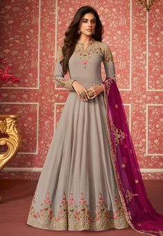 Latest designer Abaya style party Wear real Georgette anarkali suit collections Catalogue 13139 For… – commensurable-figur Anarkali Gown, Anarkali Suits, Saree, Indian Anarkali, Hijab Gown, Churidar Suits, Abaya Fashion, Indian Fashion, Fashion Dresses