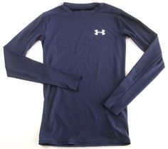 UNDER ARMOUR Boys Shirt Youth Long Sleeve Size SM Heatgear Top Blue #UnderArmour #shirt #training